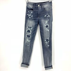 American Eagle Hi Rise Jegging Distressed Jeans